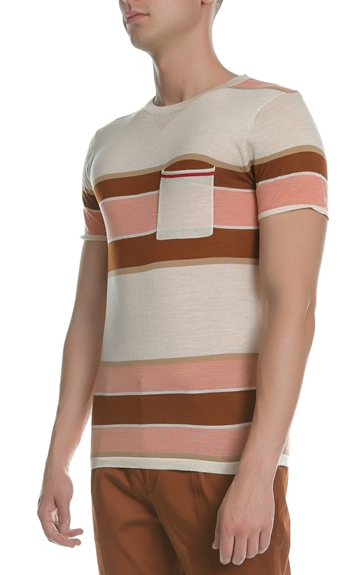 SCOTCH & SODA-Ανδρική πλεκτή κοντομάνικη μπλούζα SCOTCH & SODA ροζ-μπεζ-καφέ