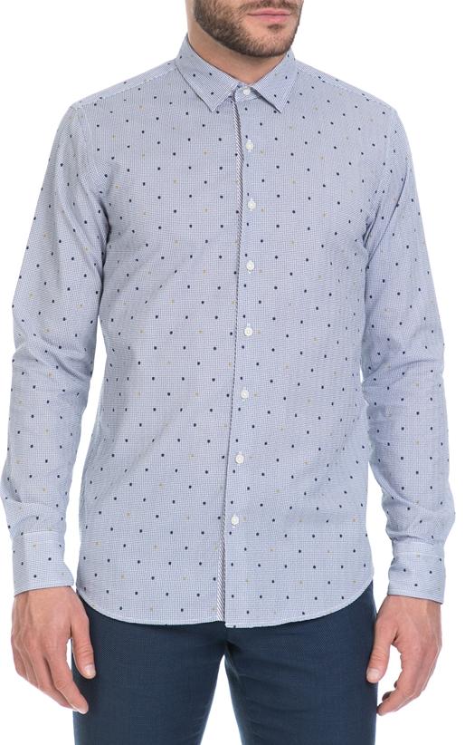 SSEINSE-Ανδρικό πουκάμισο SSEINSE μπλε-λευκό