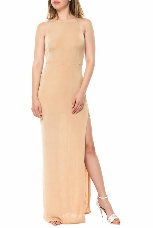 e8235dd65b89 YVONNE BOSNJAK-Γυναικείο μάξι φόρεμα YVONNE BOSNJAK μπεζ-χρυσό