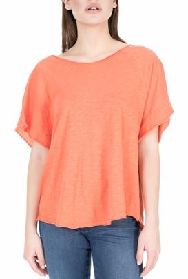 AMERICAN VINTAGE-Γυναικεία κοντομάνικη μπλούζα PIMS53E18 πορτοκαλί