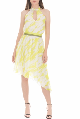BYBLOS-Γυναικείο μίνι φόρεμα BYBLOS ASYMMETRIC λαχανί