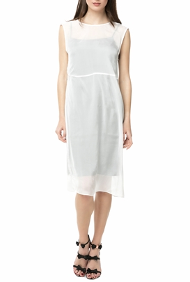 CALVIN KLEIN JEANS-Μίντι φόρεμα DIVINA DOUBLE LAYER λευκό-μαύρο