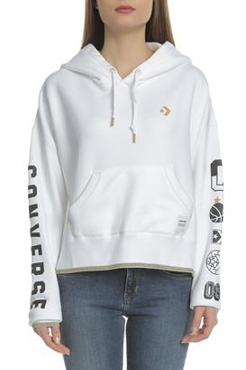 CONVERSE-Γυναικεία μακρυμάνικη φούτερ μπλούζα Converse λευκή ac730282bd7