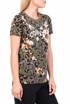 CONVERSE-Γυναικεία κοντομάνικη μπλούζα CONVERSE FLORAL ANIMAL CAMO χακί.  OFFER d27cf2bd74e