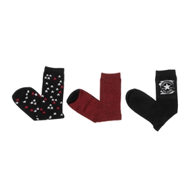 CONVERSE-Γυναικείο σετ κάλτσες CONVERSE κόκκινο-μαύρο