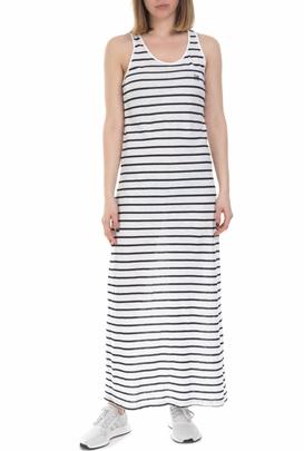 FRANKLIN & MARSHALL-Γυναικείο μάξι ριγέ φόρεμα Franklin & Marshall άσπρο - μαύρο