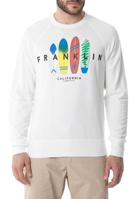 FRANKLIN & MARSHALL-Ανδρική φούτερ μπλούζα FRANKLIN & MARSHALL λευκή