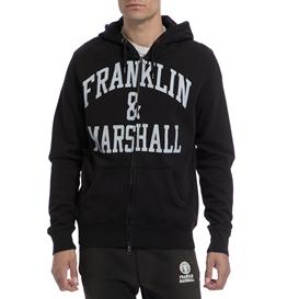 FRANKLIN & MARSHALL-Αντρική ζακέτα FRANKLIN & MARSHALL μαύρη