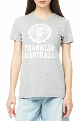 FRANKLIN   MARSHALL-Γυναικείο t-shirt Franklin   Marshall JERSEY ROUND NECK  SHORT γκρι 84efd606019