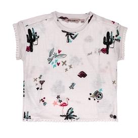 GARCIA JEANS-Κοντομάνικη μπλούζα GARCIA JEANS μπεζ με μοτίβο