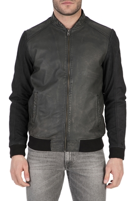 GARCIA JEANS-Ανδρικό δερμάτινο μπουφάν Garcia Jeans μαύρο