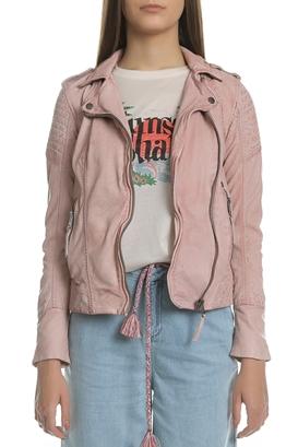 GARCIA JEANS-Γυναικείο δερμάτινο jacket από την Garcia Jeans ροζ