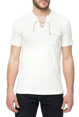 HAMAKI HO-Ανδική κοντομάνικη μπλούζα HAMAKI HO SERAFINO λευκή