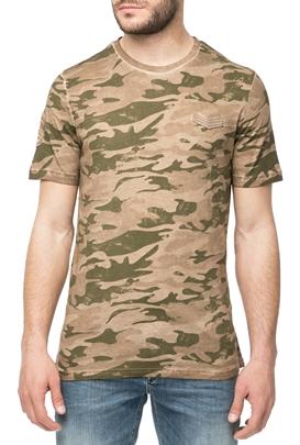 HAMAKI HO-Ανδρική κοντομάνικη μπλούζα HAMAKI HO με μοτίβο παραλλαγής