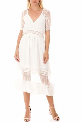 MOLLY BRACKEN-Γυναικείο midi φόρεμα MOLLY BRACKEN λευκό