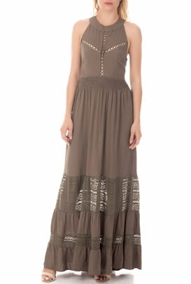 MOLLY BRACKEN-Γυναικείο μάξι φόρεμα MOLLY BRACKEN χακί