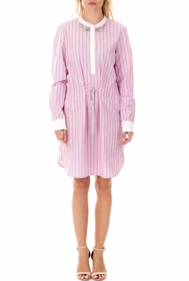 MY TWINS-Γυναικείο μίνι φόρεμα MY TWINS ροζ