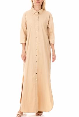 MY TWINS-Γυναικείο μάξι φόρεμα MY TWINS μπεζ