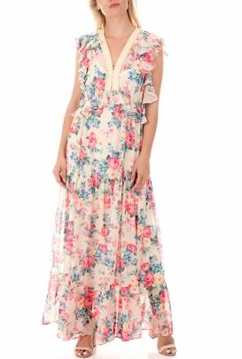 MY TWINS-Γυναικείο μάξι φόρεμα MY TWINS φλοράλ
