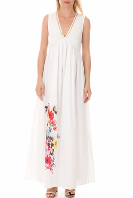 MY TWINS-Γυναικείο μάξι φόρεμα MY TWINS λευκό