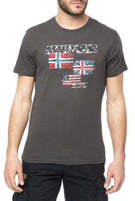 NAPAPIJRI-Ανδρική κοντομάνικη μπλούζα NAPAPIJRI ανθρακί