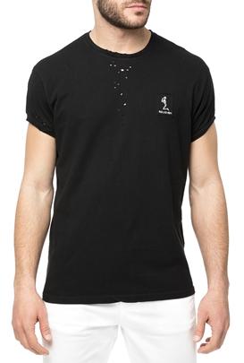 RELIGION-Ανδρική κοντομάνικη μπλούζα RELIGION μαύρη με διάτρητες λεπτομέρειες