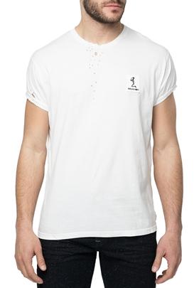 RELIGION-Ανδρική κοντομάνικη μπλούζα RELIGION λευκή με διάτρητες λεπτομέρειες