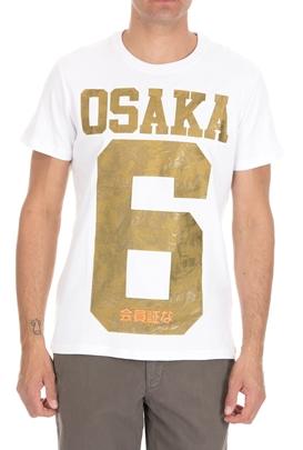 SUPERDRY-Ανδρική κοντομάνικη μπλούζα SUPERDRY  ICON OSAKA CAMO λευκή