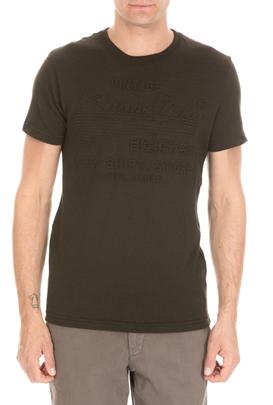 SUPERDRY-Ανδρική κοντομάνικη μπλούζα SUPERDRY SHOP EMBOSSED πράσινη