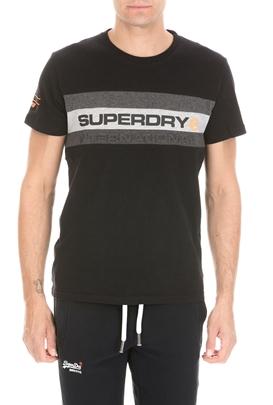 SUPERDRY-Ανδρική κοντομάνικη μπλούζα SUPERDRY TROPHY μαύρη