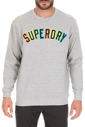 SUPERDRY-Ανδρική φούτερ μπλούζα SUPERDRY NEW HOUSE RULES γκρι
