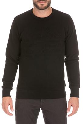 SUPERDRY-Ανδρική φούτερ μπλούζα SUPERDRY EMBOSSED μαύρη