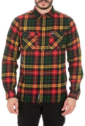 SUPERDRY-Ανδρικό πουκάμισο SUPERDRY CLASSIC LUMBERJACK πράσινο κίτρινο