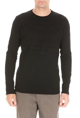 SUPERDRY-Ανδρική μπλούζα SUPERDRY SHOP EMBOSSED μαύρη